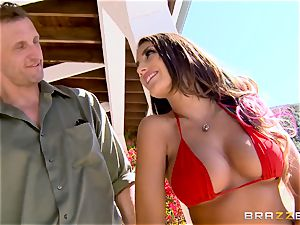 August Ames gets her bra-stuffers creamed outdoors