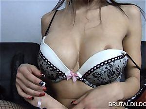 smallish chinese Jayden Lee feeding her vagina a yam-sized dildo