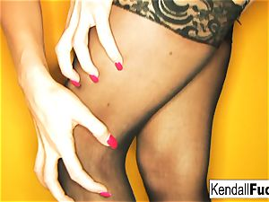 Kendall does a gorgeous tease with pantyhose fetish sense to it