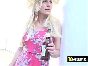 torrid blondie milf is seduced into pulling her dress up to get poked