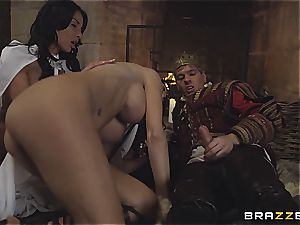 Alluring Anissa Kate and Jasmine Jae conform the king's will and fuckpole
